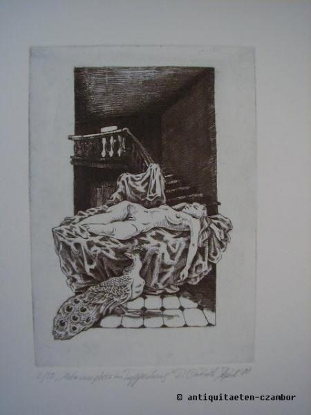 Etching, R. Dietrich, female nude. april 2000