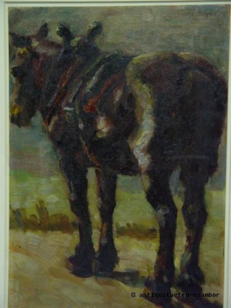 Georg Hilgers (attributed to), horse, impressionism, oil on cardboard