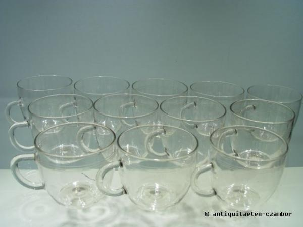 12 punch glasses/ glass cups/ tea cups, Jena glass, about 1950