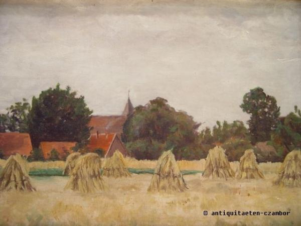 View of Schwaan, probably Franz Bunke, impressionism, oil on hardboard, unsigned