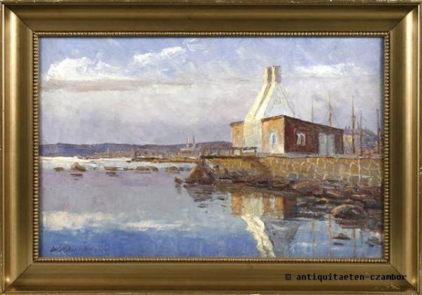 Axel Möller, waterside with herring smokehouse, impressionism 1929, oil on canvas, signed