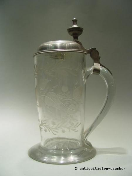Beer mug, about 1840, with tin lid