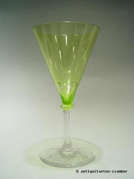 Wine glass, uranium glass, Theresienthal, historism about 1898