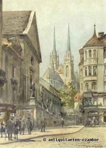 Paul Kaspar (1891-1953), view of the Capuchin square in Brno