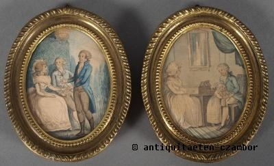 Pair of miniatures, water-colored painting
