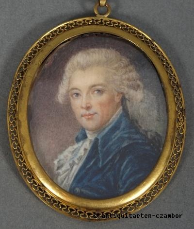 Image-Miniature; Gouache on ivory, male portrait