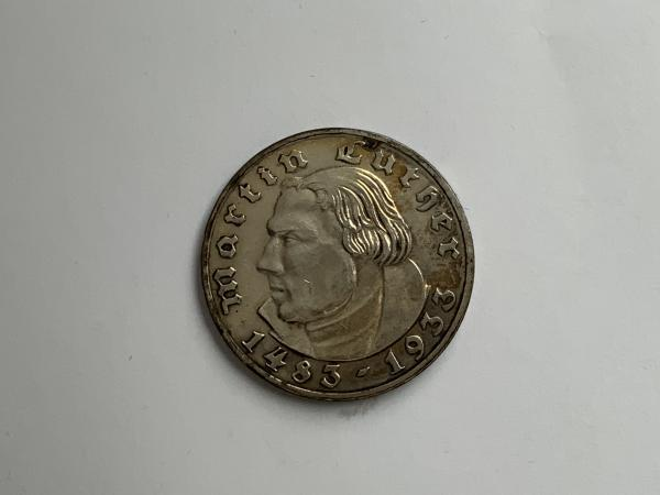 Münze Drittes Reich 2 Mark Luther 1933 F